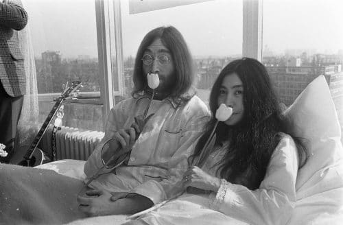 John Lennon And Yoko Ono in Bed - Peace