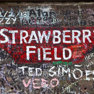 Liverpool, UK - April 16, 2014: Strawberry Field in Liverpool.  Strawberry Field was immortalised in 'The Beatles' song 'Strawberry Fields Forever'.